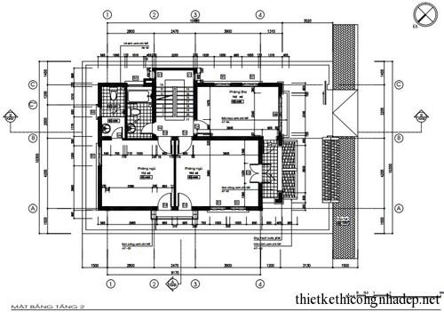 mặt bằng nhà ở hình vuông tầng 2