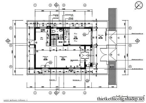 mặt bằng nhà ở hình vuông tầng 1