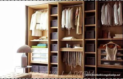 Mẫu thiết kế tủ quần áo nhỏ đẹp âm tường