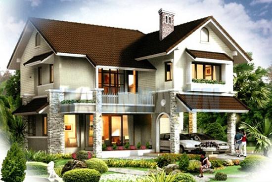 Biệt thự 2 tầng mái thái hiện đại giá rẻ