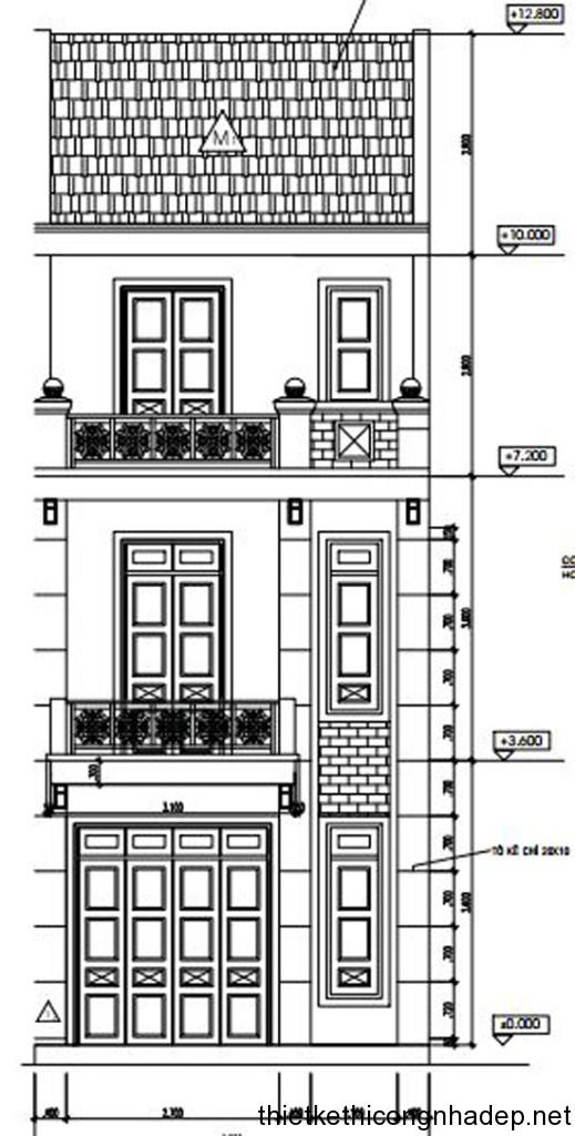 Bản vẽ thiết kế nhà ống 3 tầng 5×18 mét đẹp