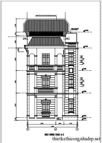 Bản vẽ biệt thự gia đình mái thái 3 tầng