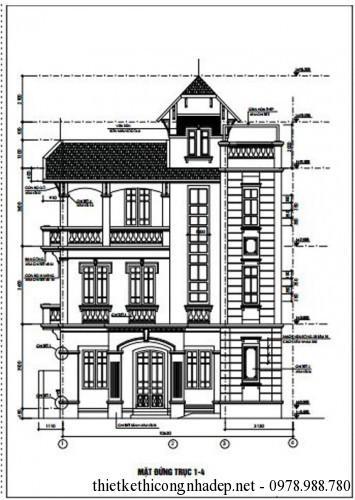 Bản vẽ thiết kế biệt thự nhà 3 tầng