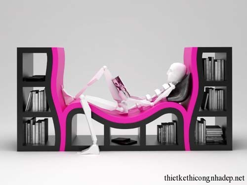 Giá sách được kết hợp với ghế sofa ngồi