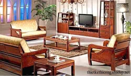 Mẫu bàn ghế sofa gỗ cổ điển phòng khách đẹp