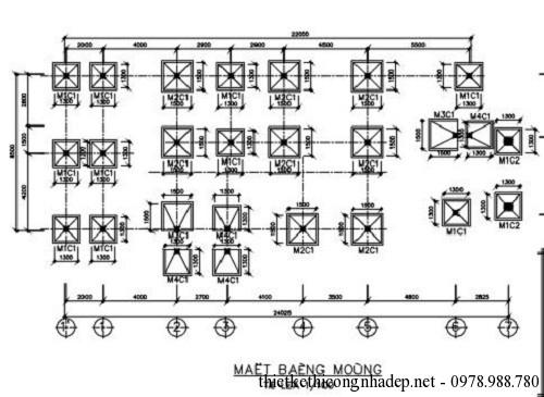Bản vẽ kết cấu của nhà 1 tầng