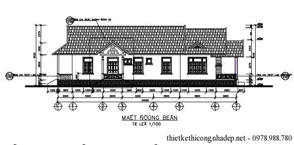Bản vẽ kiến trúc của nhà Thiết kế nhà 1 tầng đẹp diện tích 8.5x24 mét