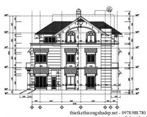 Bản vẽ chi tiết biệt thự 4 tầng diện tích 17.7×15.7 mét