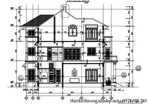 Bản vẽ kiến trúc và mặt trước của biệt thự