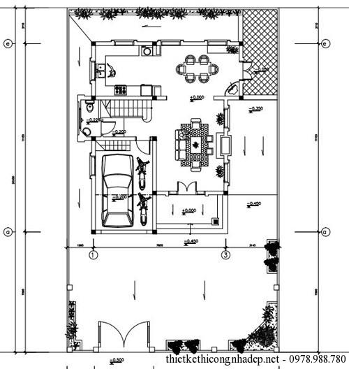 Bản vẽ mặt bằng tầng 1 của biệt thự