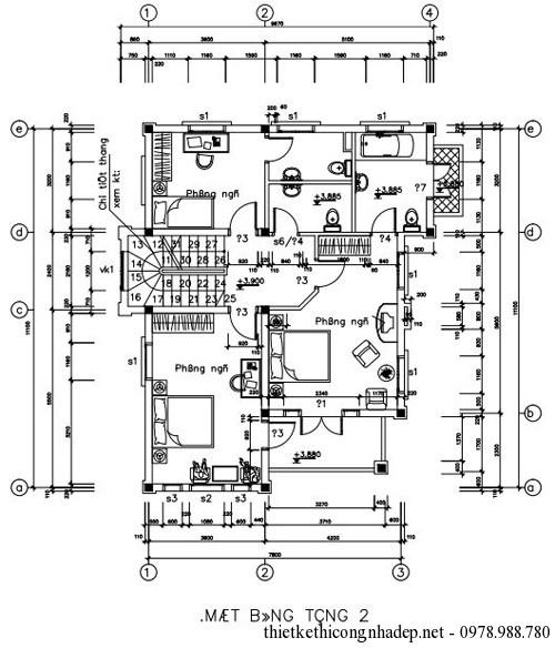 Bản vẽ mặt bằng tầng 2