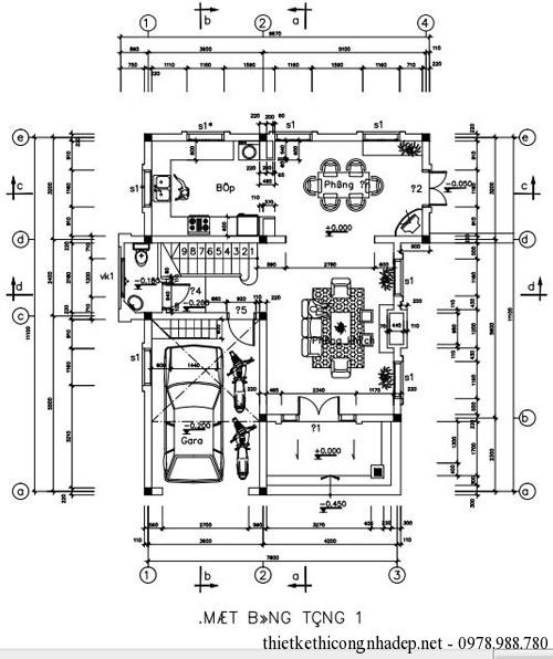 Bản vẽ mặt bằng tầng 1