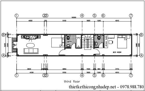 Bản vẽ mặt bằng các tầng nhà ống