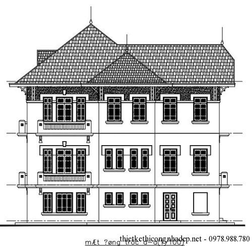 Bản vẽ thiết kế kiến trúc biệt thự A-A