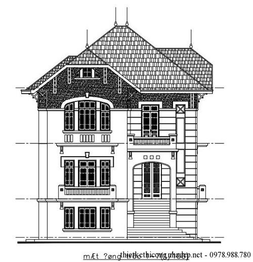 Bản vẽ biệt thự cao cấp diện tích 10.8 x 14.2 mét