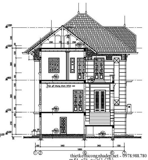 Bản vẽ thiết kế kiến trúc biệt thự 1-7