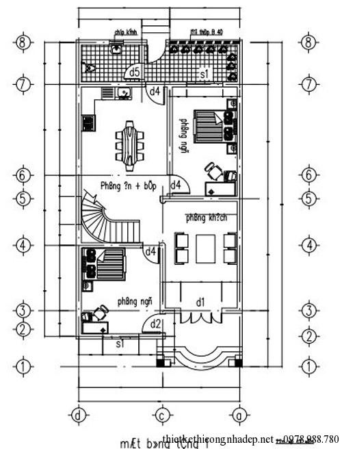 Bản vẽ thiết kế nhà ống 2 tầng đẹp