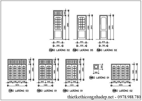 Bản vẽ chi tiết cửa chính và cửa sổ