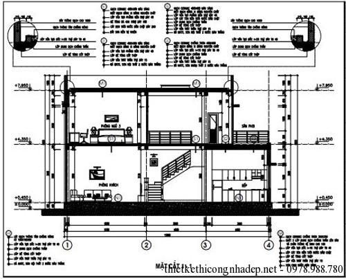 Bản vẽ thiết kế nhà 2 tầng hiện đại diện tích 9x19 mét