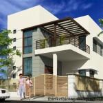Bản vẽ thiết kế nhà 2 tầng hiện đại diện tích 9×19 mét