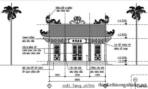 Bản vẽ thiết kế từ đường dòng họ tại Thái Bình