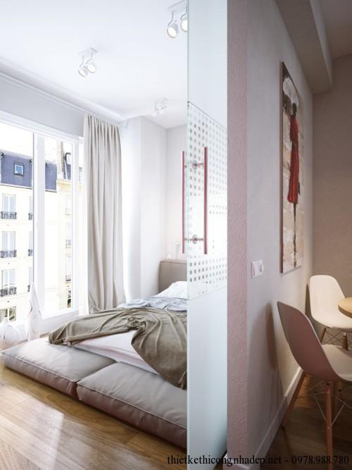 Phòng ngủ và phòng khách chỉ cách nhau bằng bức tường thạch cao