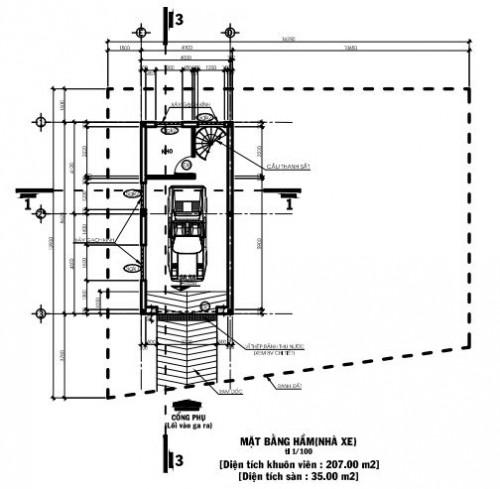 Bản vẽ thiết kế biệt thự 3 tầng diện tích 8.62×13.2