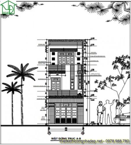Thiết kế nhà phố 3 tầng hiện đại diện tích 5 x 15 mét