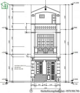 Thiết kế nhà phố 3 tầng mái bằng hiện đại diện tích 4 x 12