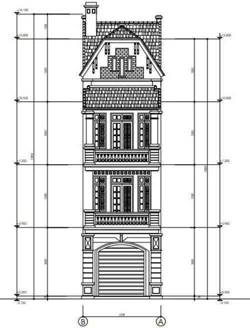Thiết kế mặt tiền nhà phố phương án 4