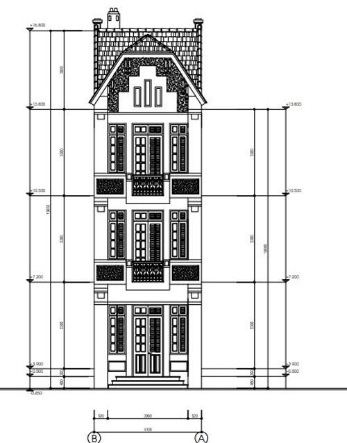Thiết kế mặt tiền nhà phố phương án 3