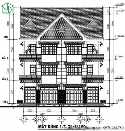 Bản vẽ thiết kế biệt thự song lập 3 tầng hiện đại