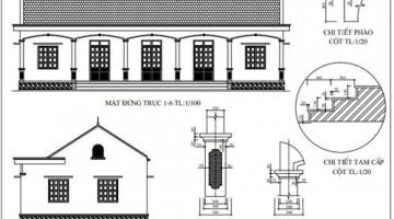 Bản vẽ thiết kế mẫu hội trường nhà văn hóa thôn