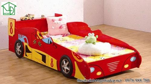 Giường ngủ ô tô màu đỏ