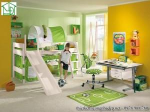 Mẫu thiết kế giường ngủ trẻ em kết hợp không gian vui chơi