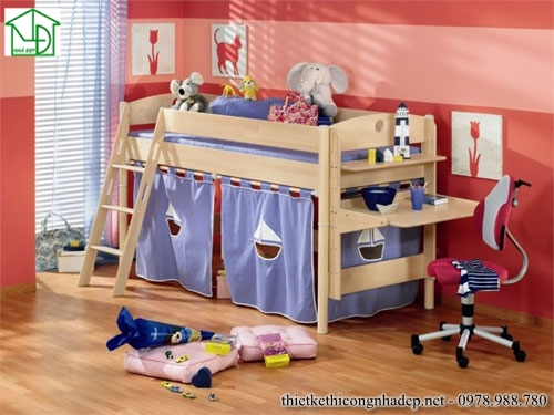 Giường ngủ kết hợp bàn học trẻ em