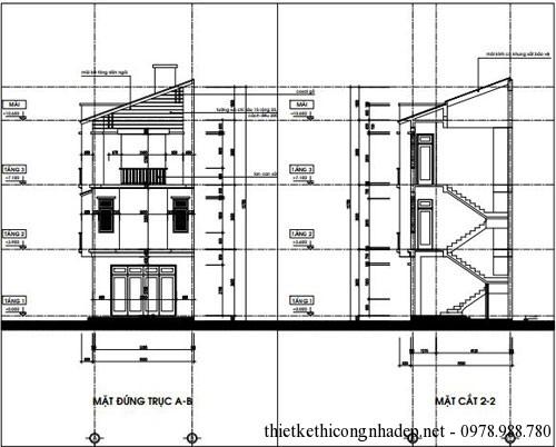 Mặt đứng trục B-A và mặt cắt 2-2