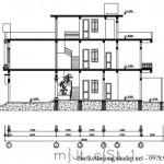 Bản vẽ thiết kế nhà phố 3 tầng mái bằng diện tích 5 x 20