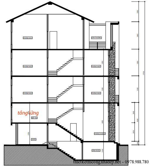 Mặt cắt của nhà phố, các bạn có thể nhìn thấy vị trí tầng lửng đặt tại tầng 1