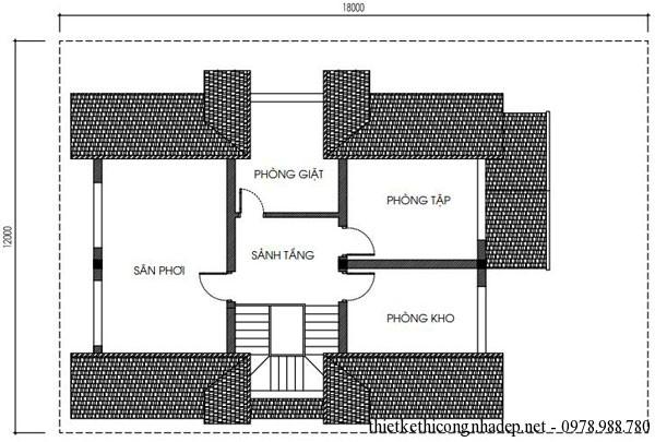 Mặt bằng tầng tum biệt thự vườn 3 tầng