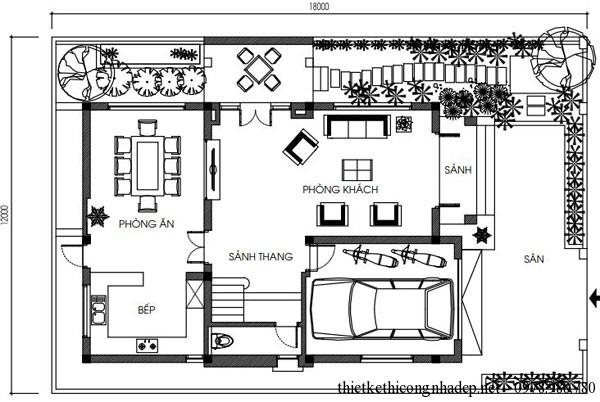 Mặt bằng tầng 1 biệt thự vườn 3 tầng