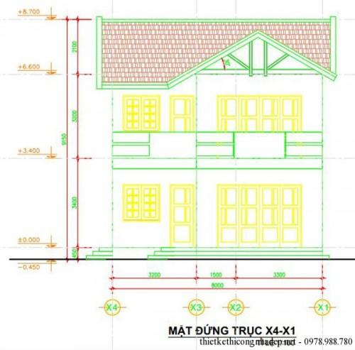 Thiết kế biệt thự sân vườn 2 tầng mái thái hiện đại