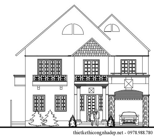 Thiết kế nhà biệt thự vườn 2 tầng mái thái hiện đại