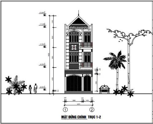 Thiết kế nhà ở dân dụng kiểu dáng hiện đại 5 x 19