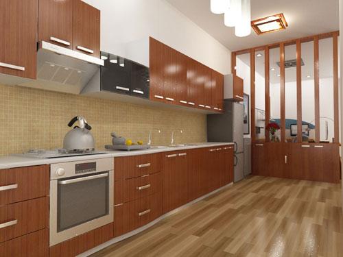 Nội thất phòng bếp, ngăn cách với khu làm việc bằng vách ngăn