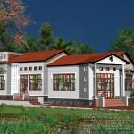 Bản vẽ biệt thự nhà vườn 1 tầng mái ngói hiện đại