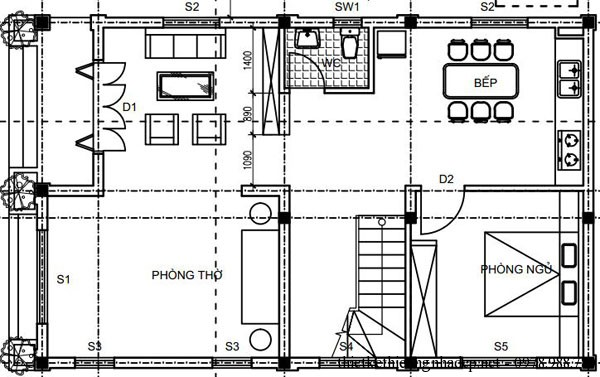 Mặt bằng tầng 1 biệt thự 2 tầng