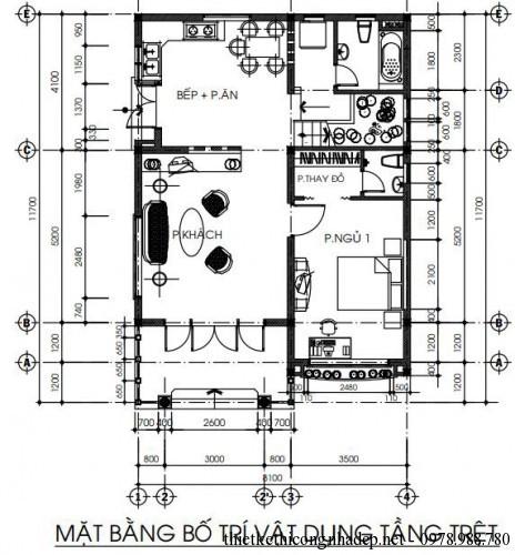 Mặt bằng bố trí vật dụng của tầng 1