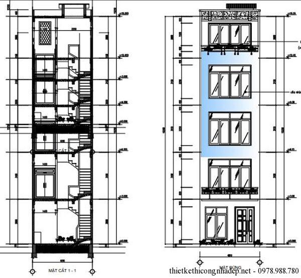 Mặt tiền của căn nhà có diện tích 25 m2