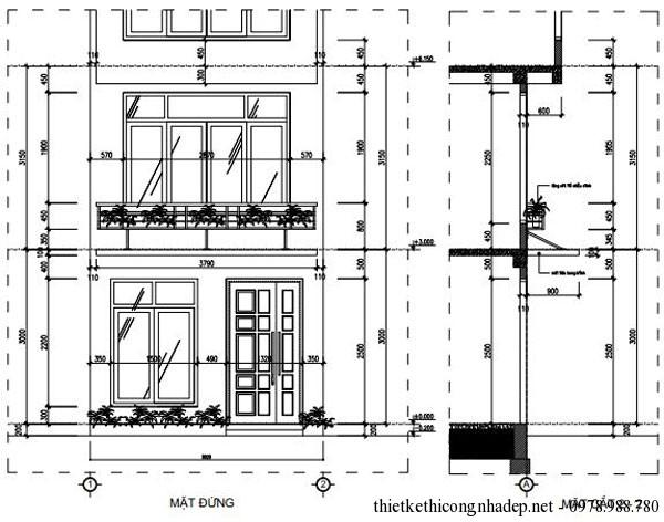 Mặt đứng nhà phố 5 tầng